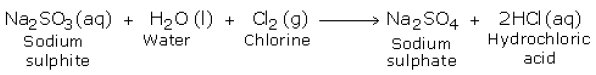 overall reaction of chlorine and sodium sulphite